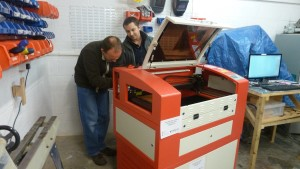 Installation of our spare laser cutter at Swindon Makerspace